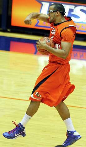 FOR SPORTS - Sam Houston State's Gilberto Clavell reacts after the game with UTSA Saturday Jan. 8, 2011 at the Convocation Center.  Sam Houston State won 62-59. Photo: EDWARD A. ORNELAS, SAN ANTONIO EXPRESS-NEWS / eaornelas@express-news.net