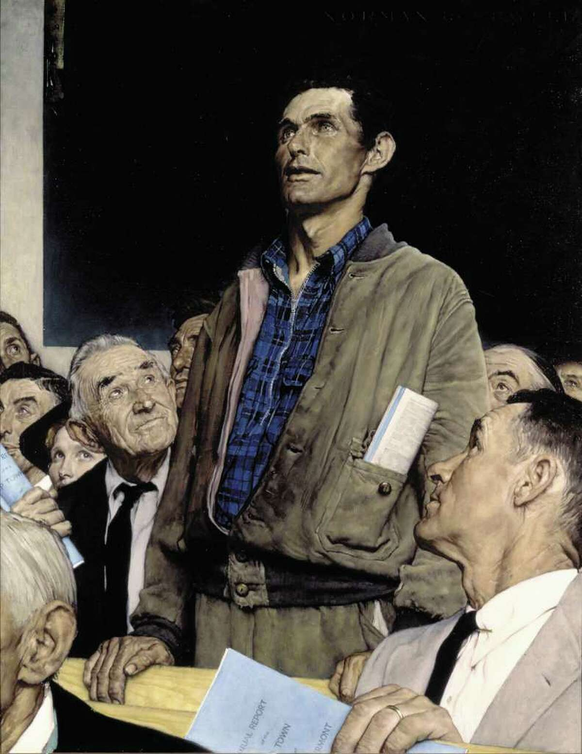 """""""Freedom of Speech,"""" 1943, by Norman Rockwell. SEPS. (From the permanent collection of Norman Rockwell Museum)"""