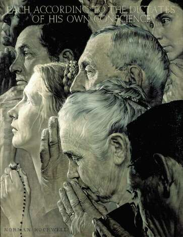 """Freedom of Worship,"" 1943, by Norman Rockwell. SEPS. (From the permanent collection of Norman Rockwell Museum)"