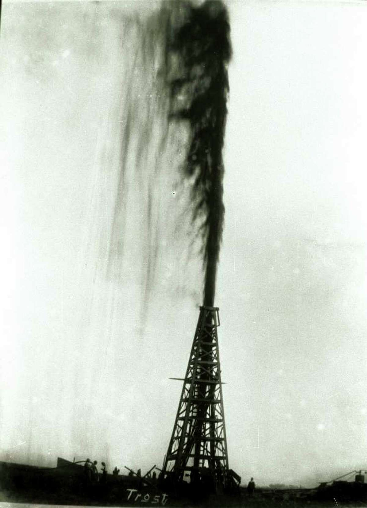 Frank Trost's famous photo of the Lucas Gusher at Spindletop in Jan. 1901 .Enterprise file photo