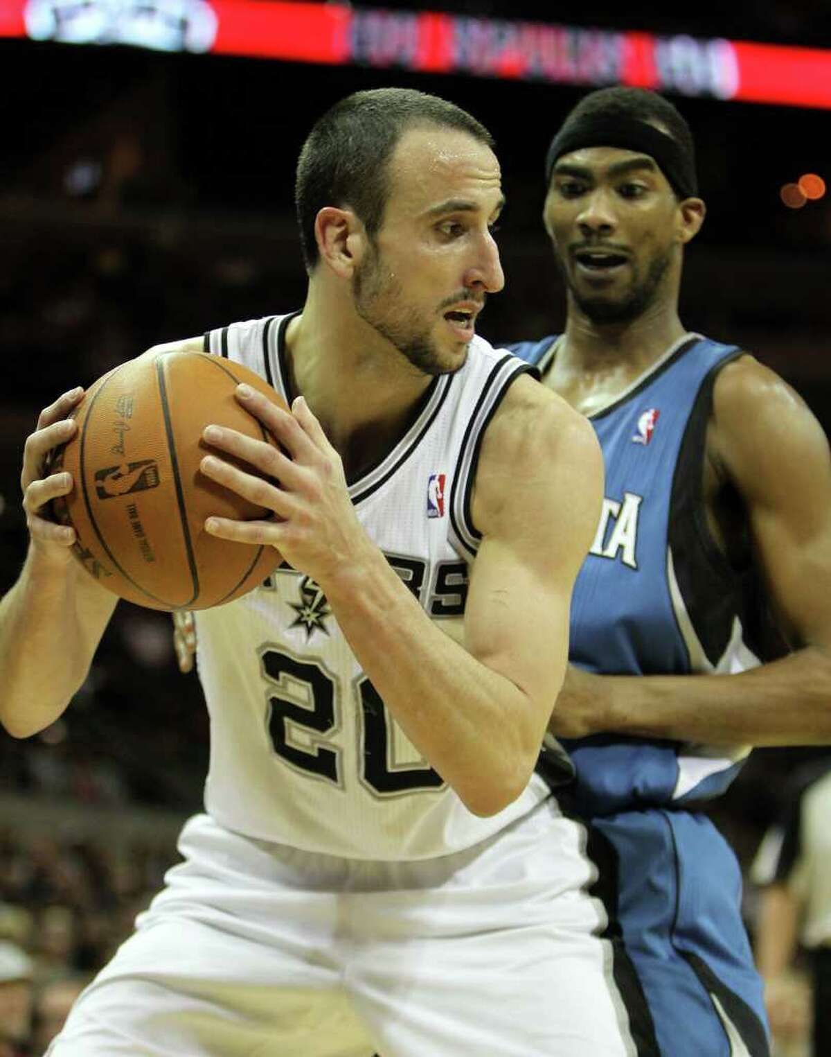 Manu Ginobili looks to pass in the second half of the Spurs vs. Minnesota Timberwolves matchup at the AT&T Center, Sunday, January 9, 2011. The Spurs squeezed by 94-91.