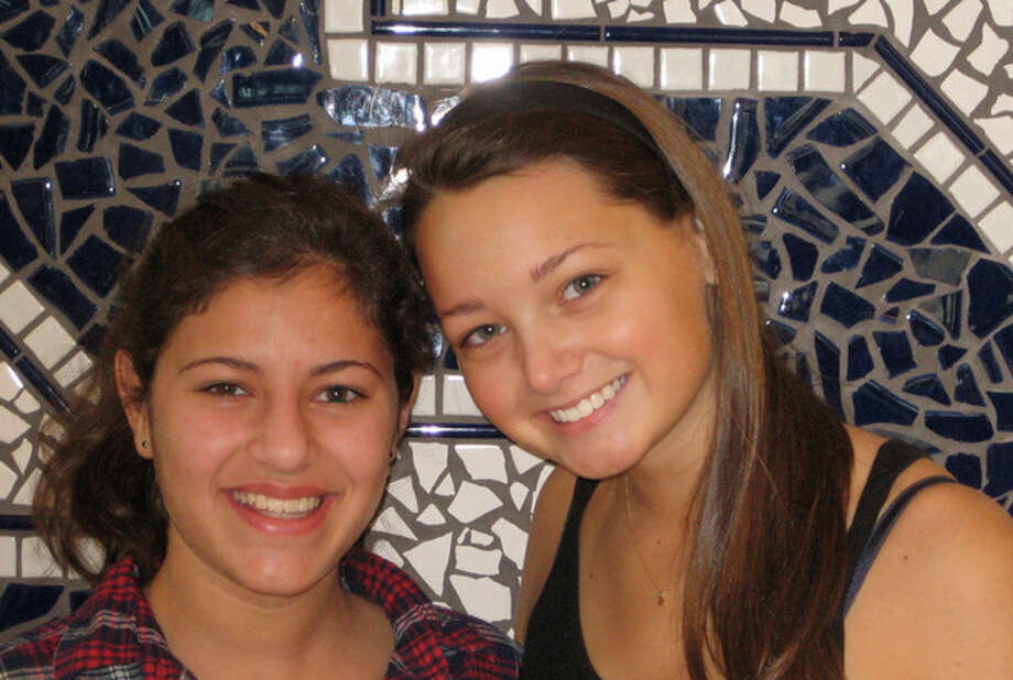 """Sami Schwaeber and Zoe Greenblatt are Staples High School students active in """"Circle of Friends,"""" a program run by Beth Israel of Westport/Norwalk. Photo: Contributed Photo / Westport News contributed"""
