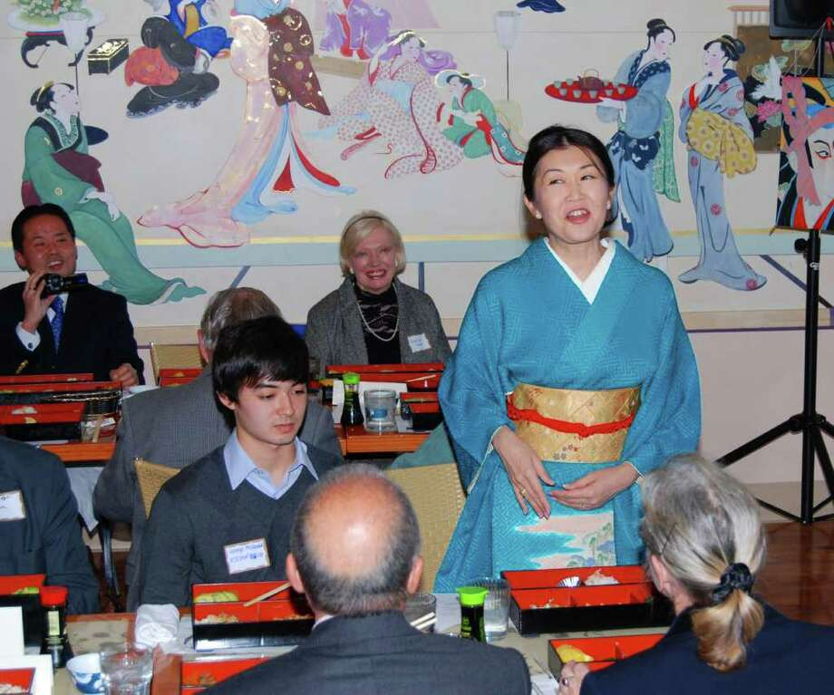 Yumi McDonald, Vice President of the Japan Society of Fairfield County, Inc., introduces herself during the JSFC 2011 Oshogatsu program at Plum Tree restaurant. Photo: Jeanna Petersen Shepard / New Canaan News