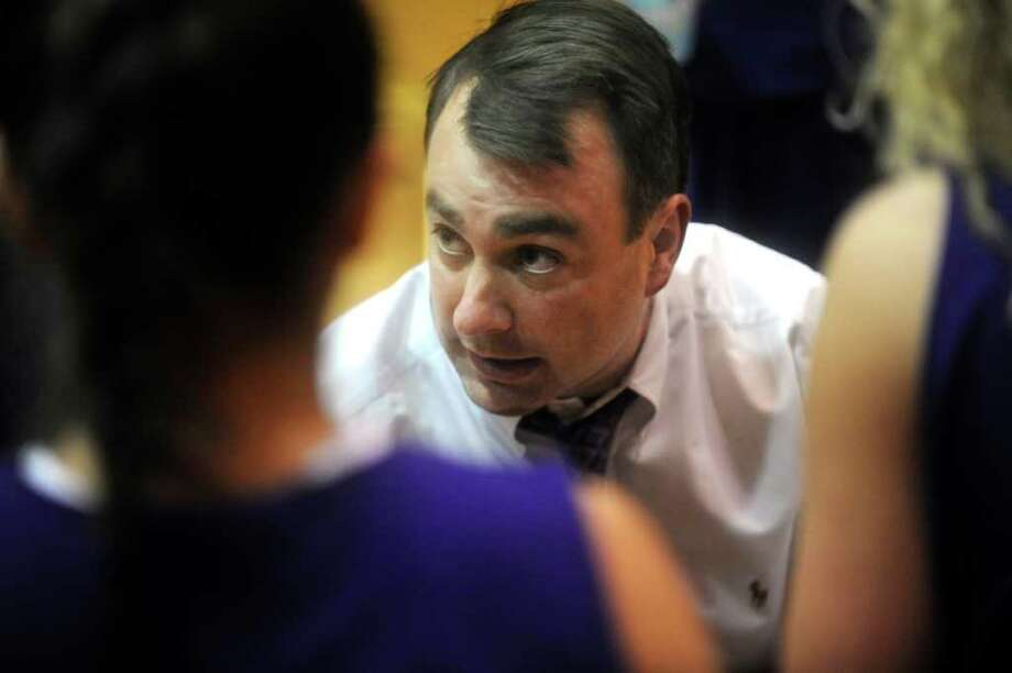 FILE — Mike King, Westhill High School girls basketball head coach, and the school's athletic director, at a basketball game against Greenwich High School, hosted by Greenwich, on Monday, Jan. 10, 2011. Photo: Helen Neafsey / Greenwich Time