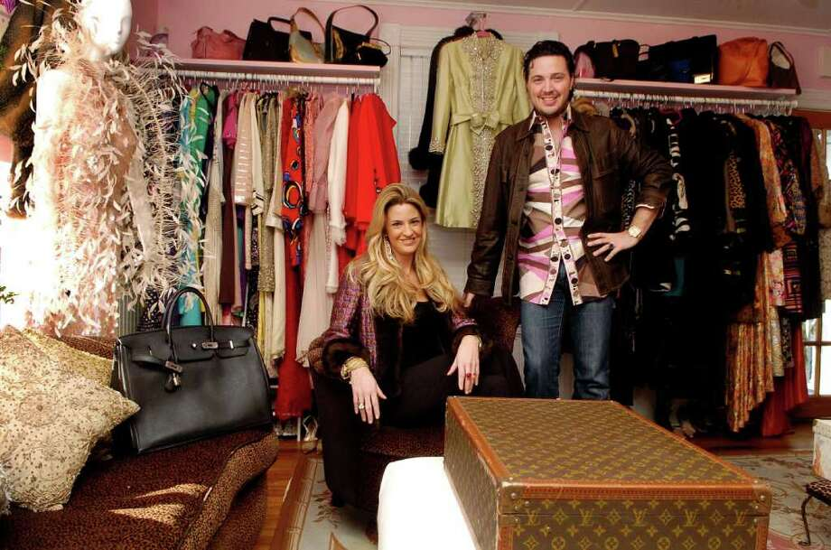 Brother and sister Max Tucci and Niki Tucci-Delmonico in their vintage clothing store The Pink Plume in New Canaan, Conn. on Thursday December 30, 2010. Photo: Dru Nadler / Stamford Advocate Freelance