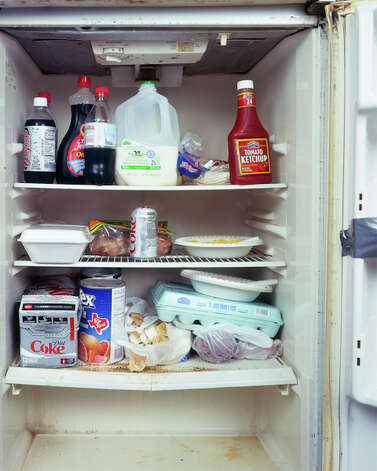 "Photo of school crossing guard's refrigerator for Mark Menjivar's ""You Are What You Eat"" exhibit."