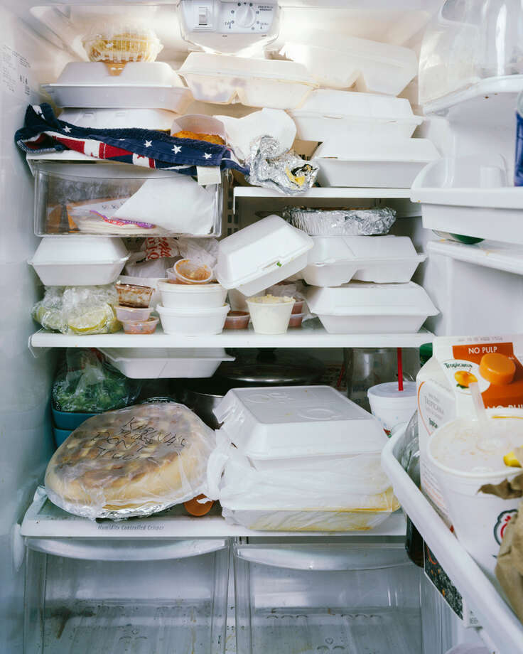 "Mark Menjivar's photo of a bartender's refrigerator for ""You Are What You Eat"" photo exhibit in SA."