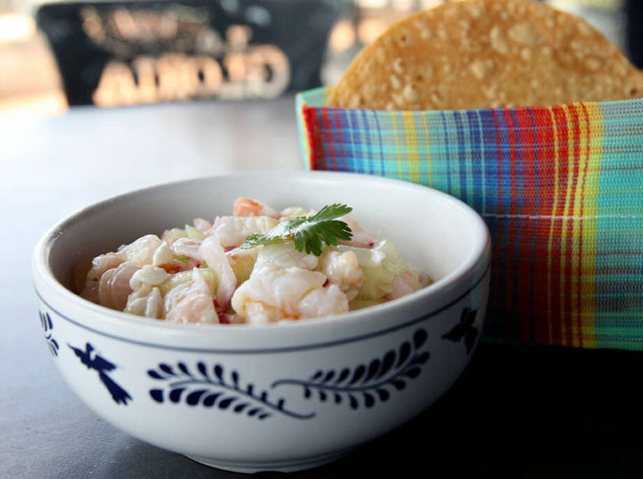 La Gloria's Ceviche Estilo Nayarit has fish, cucumber, onions and peppers.HELEN L. MONTOYA/hmontoya@express-news.net