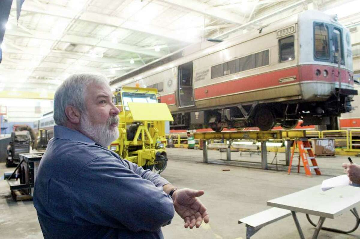 John Hogan,assistant chief mechanical officer for Metro-North Railroad's New Haven line, oversees preparations for the storm at Stamford Rail Maintenance Shop in Stamford, Conn., Tuesday, January 11, 2011.
