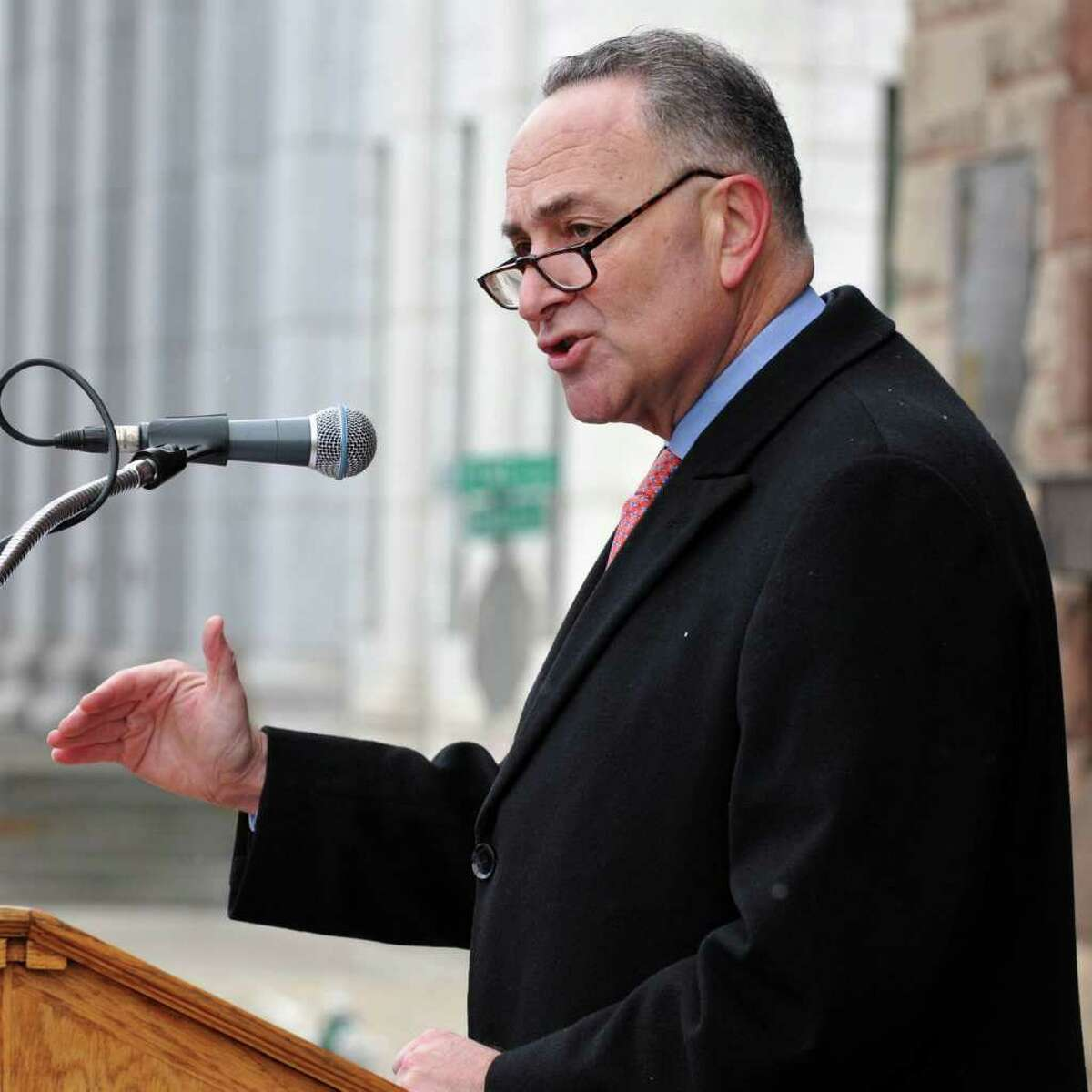 U.S. Sen. Charles Schumer calls on the Department of Homeland Security to provide the Capital Region with more counter-terrorism funding during a news conference on Albany City Hall steps Tuesday January 11, 2011. (John Carl D'Annibale / Times Union)