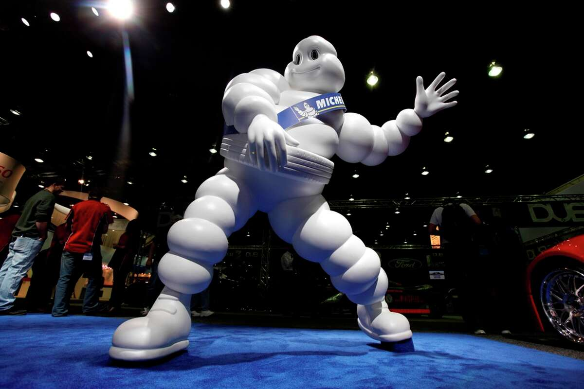 The Michelin Man takes part at the North American International Auto Show in Detroit, Tuesday, Jan. 11, 2011. Paul Sancya/Associated Press