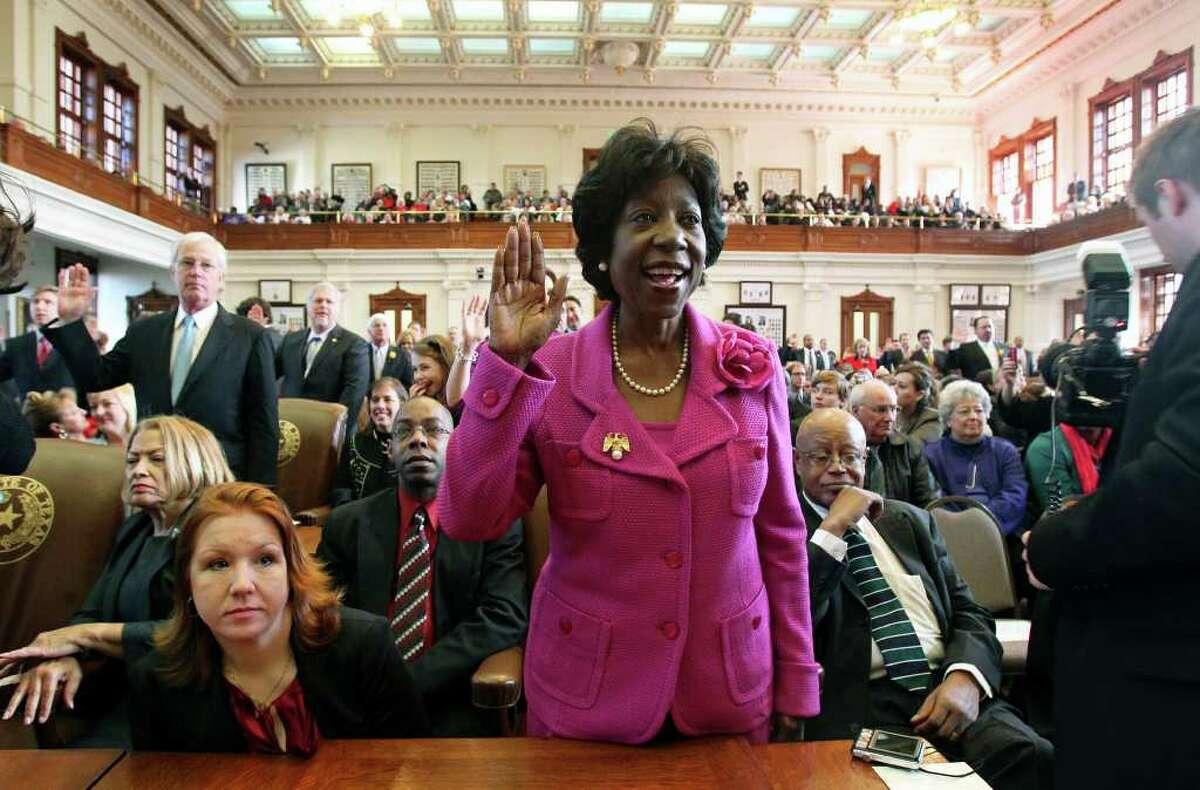 Rep. Ruth Jones McClendon, D-San Antonio, takes the oath of office on the Legislature's opening day.