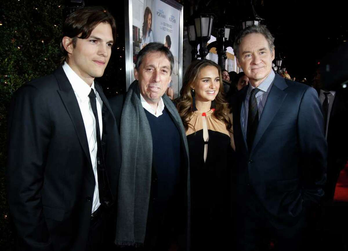 From left, Ashton Kutcher, director Ivan Reitman, Natalie Portman, and Kevin Kline pose together at the premiere