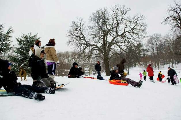 Cummings Park offers solid sledding after the storm in Stamford, Conn., Wednesday, January 12, 2011., January 12, 2011. Photo: Keelin Daly / Stamford Advocate