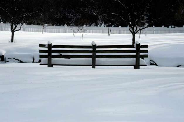Snow in Bruce Park, on Wednesday, Jan. 12, 2011. Photo: Helen Neafsey / Greenwich Time