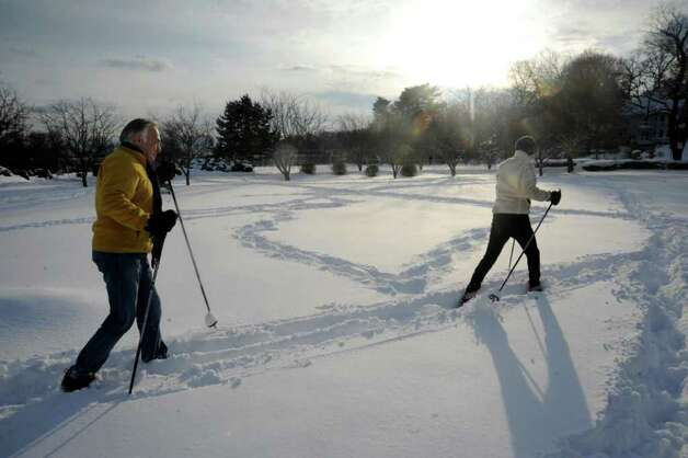 Steve and Nancy Fuzesi, of Greenwich, cross-country ski at Binney Park, in Old Greenwich, on Wednesday, Jan. 12, 2011. Photo: Helen Neafsey / Greenwich Time