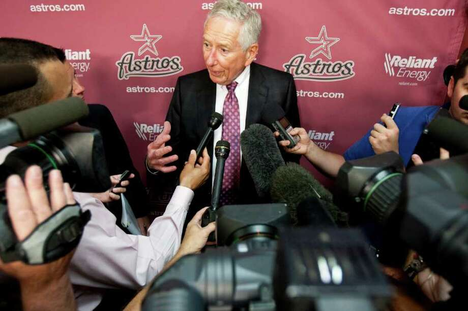 Houston Astros owner Drayton McLane answers some one-on-one questions after a press conference where he officially announced that he will be accepting offers for the sale of the team in November. Nick de la Torre/Houston Chronicle / Houston Chronicle