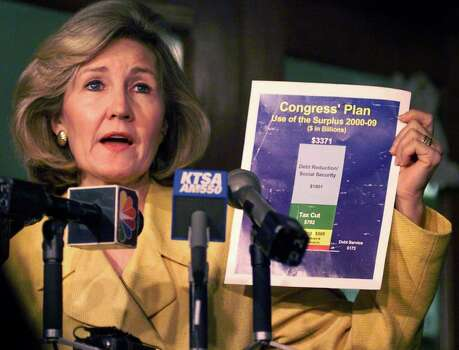 METRO DAILY - Sen. Kay Bailey Hutchison (R.-Tex.) discusses the final version fo the tax-cut bill approved last week by Congress at the Bexar County Courthouse on Thursday, August 12, 1999. Kin Man Hui/staff. Photo: Kin Man Hui