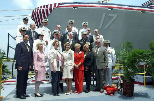 METRO   SENATOR KAY BAILEY HUTCHISON (front center) and San Antonio mayor Ed Garza (left front) were among the dignitaries present for the christening  of the LPD-17 ship to be commissioned as the USS San Antonio.  The ceremony took place  Saturday, July 19, 2003 at the Northrop Grumman Ship System Avondale plant near New Orleans. Photo: TOM REEL, SAN ANTONIO EXPRESS-NEWS / SAN ANTONIO EXPRESS-NEWS