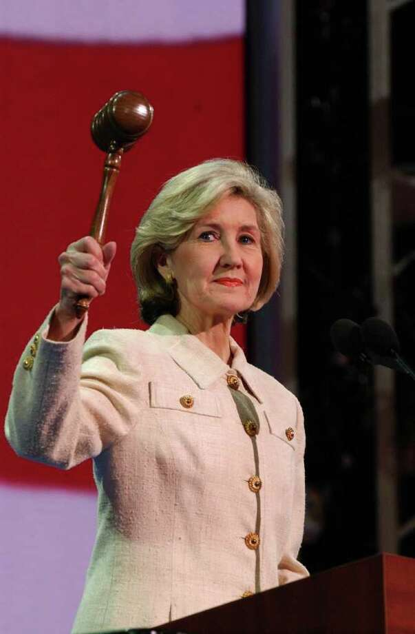 REPUBLICAN CONVENTION DAY TWO 8/31/04 Texas Sen. Kay Bailey Hutchison calls the second day of the  2004 Republican National Convention to order in Madison Square Garden on Tuesday, August 31, 2004. ( JERRY LARA STAFF ) Photo: JERRY LARA, SAN ANTONIO EXPRESS-NEWS / SAN ANTONIO EXPRESS-NEWS