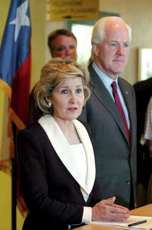 METRO - Texas Senators Kay Bailey Hutchison and John Cornyn talks to the media about the BRAC closures in San Antoio and what they plan to do the save them Sunday May 15, 2005. KEVIN GEIL/STAFF Photo: EXPRESS-NEWS FILE PHOTO / SAN ANTONIO EXPRESS-NEWS