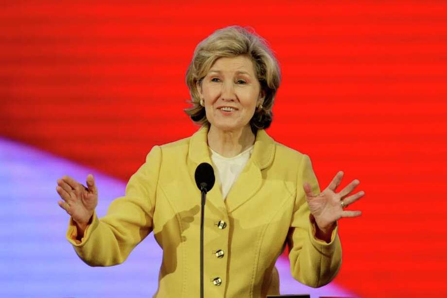 ST. PAUL, MN - SEPTEMBER 03:  U.S. Sen. Kay Bailey Hutchison (R-TX) stands at the podium during a walk thru on day three of the Republican National Convention (RNC) at the Xcel Energy Center on September 3, 2008 in St. Paul, Minnesota. The GOP will nominate U.S. Sen. John McCain (R-AZ) as the Republican choice for U.S. President on the last day of the convention. Photo: Alex Wong, Getty Images / 2008 Getty Images