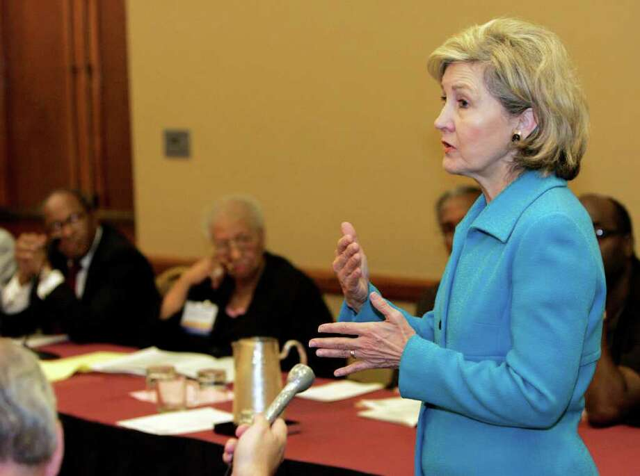 "METRO; HUTCHISON 1011 JMS; 10/10/08; U. S. Senator Kay Bailey Hutchison speaks to the 72nd Annual NAACP state convention at the Airport Hilton in San Antonio, Friday, Oct. 10, 2008. When asked to rate on a scale of one to ten, how likely she was to make a run at the Texas gubernatorial seat, Hutchison answered, ""Ten."" Photo: J. MICHAEL SHORT, SPECIAL TO THE EXPRESS-NEWS / THE SAN ANTONIO EXPRESS-NEWS"