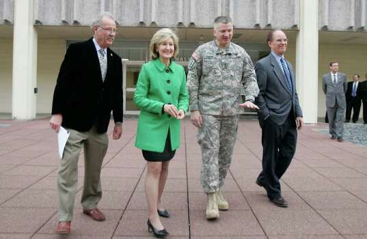 San Antonio Mayor Phil Hardberger, Sen. Kay Bailey Hutchison, Maj. Gen. Russel Czerw, and Bexar County Judge Nelson Wolff at Ft. Sam Houston in San Antonio, Texas on Monday, February 16, 2009. Photo: Alicia Wagner Calzada, SPECIAL TO THE EXPRESS-NEWS / Alicia Wagner Calzada