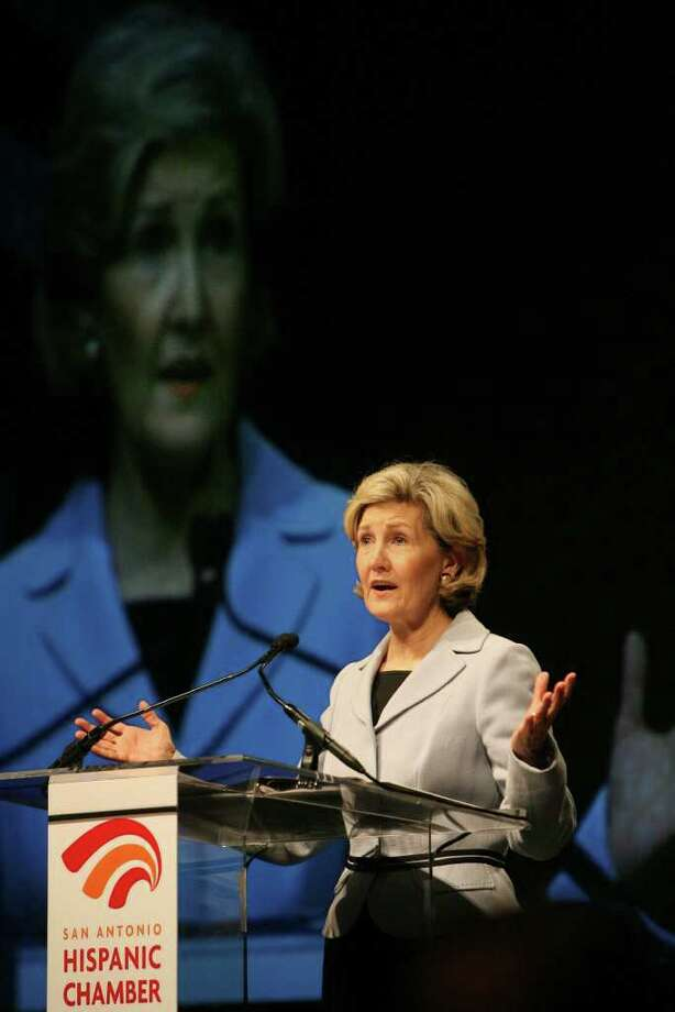 Sen. Kay Bailey Hutchison speaks to the San Antonio Hispanic Chamber of Commerce Thursday at the Henry B. Gonzalez Convention Center. Hutchison spoke about the anniversary of NAFTA, the NAD bank, eduacation for Hispanics and more. JOHN DAVENPORT/jdavenport@express-news.net Photo: JOHN DAVENPORT, SAN ANTONIO EXPRESS-NEWS / jdavenport@express-news.net