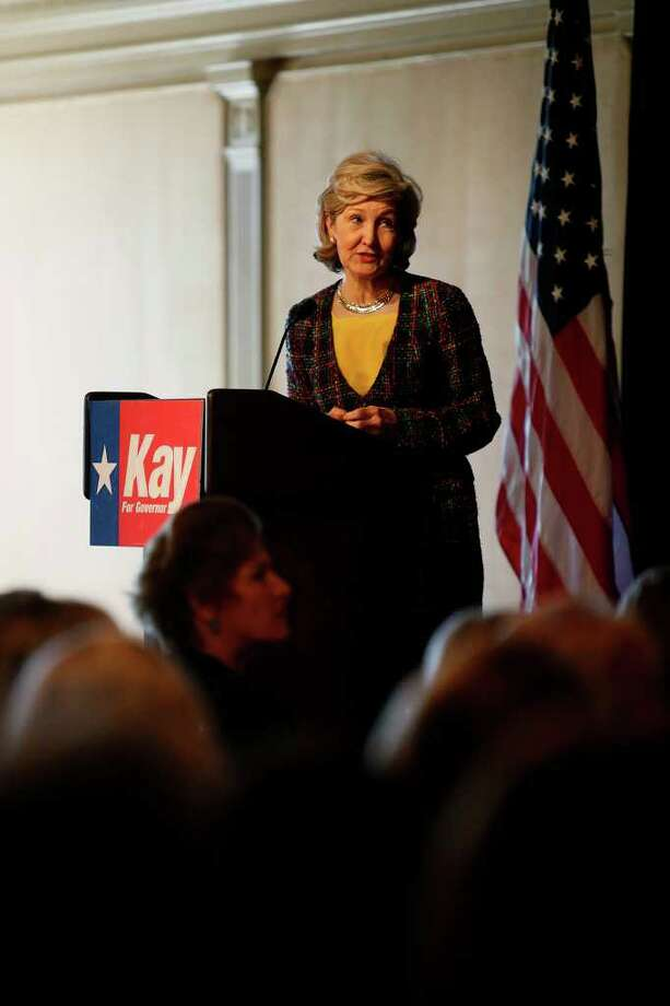 "METRO - Senator Kay Bailey Hutchison speaks at the ""Women for Kay"" luncheon at the San Antonio Country Club on Monday, Nov. 2, 2009. Karen Hughes, sitting below, introduced her at the event. LISA KRANTZ/lkrantz@express-news.net Photo: Lisa Krantz, SAN ANTONIO EXPRESS-NEWS / lkrantz@express-news.net"