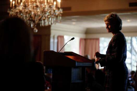 "METRO - Senator Kay Bailey Hutchison pauses as the crowd applauds after her speech to them at the ""Women for Kay"" luncheon at the San Antonio Country Club on Monday, Nov. 2, 2009. LISA KRANTZ/lkrantz@express-news.net Photo: Lisa Krantz, SAN ANTONIO EXPRESS-NEWS / lkrantz@express-news.net"