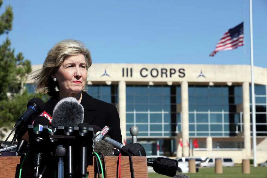 FOR METRO - Senator Kay Bailey Hutchison answers questions from the media outside of III Corps headq