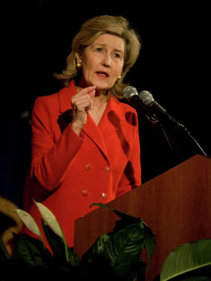 Sen. Kay Bailey Hutchison speaks during The Harris County Republican Party's annual Lincoln-Reagan Day Dinner, Wednesday, February 24, 2010 at the JW Marriott in Houston, Texas. The event featured a forum with the three Republican gubernatorial candidates Gov. Rick Perry, Kay Bailey Hutchison and Debra Medina. Photo: Billy Smith II, Chronicle / Houston Chronicle