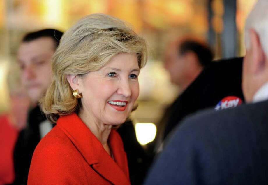 Sen. Kay Bailey Hutchison, Texas gubernatorial candidate, greets well wishers during a campaign stop in Tyler, Texas on Monday, March 1, 2010. Photo: AP