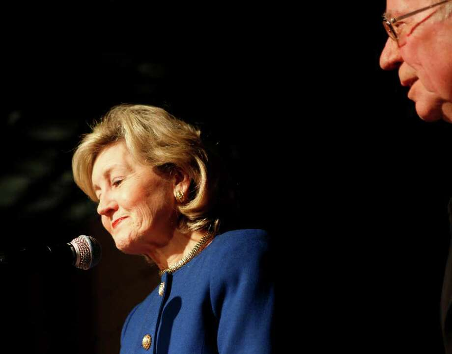 Alongside her husband Ray Hutchison (right), Republican gubernatorial candidate Senator Kay Bailey Hutchison addresses supporters at the primary election night watch party at Eddie Deen's Ranch in Dallas, Texas, on Tuesday, March 2, 2010. Hutchison was defeated in her bid to unseat incumbent Texas Governor Rick Perry. Photo: TOM FOX, MCT / Dallas Morning News