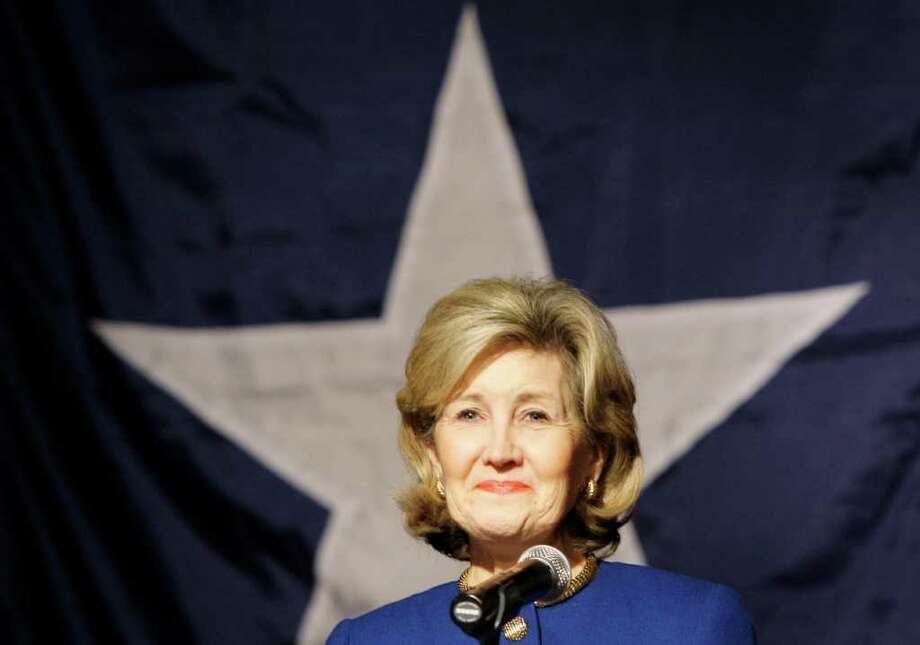 Texas gubernatorial candidate, Sen. Kay Bailey Hutchison, R-Texas, smiles as supporters cheer her after delivering her concession speech in Dallas, Tuesday, March 2, 2010. Photo: AP