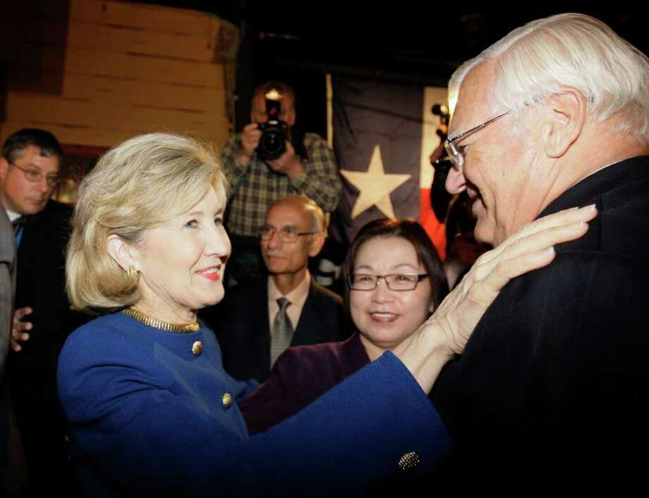 Sen. Kay Bailey Hutchison, R-Texas, left, thanks a supporter after her speech conceding from the Republican nomination for Texas governor in Dallas on Tuesday, March 2, 2010. Photo: AP