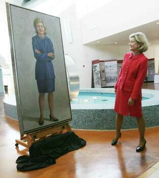 U.S. Sen. Kay Bailey Hutchison, R-Texas, gets a look at a painting of herself during a unveiling and reception at the Carlos M. Ramirez Tech Water Resources Learning Center at the Kay Bailey Hutchison Desalination Plant Friday May 14, 2010 in El Paso, Texas. Hutchison was honored with the portrait, painted by El Paso artist Rosario Ponte, for her work in getting the plant funded and built. Photo: AP
