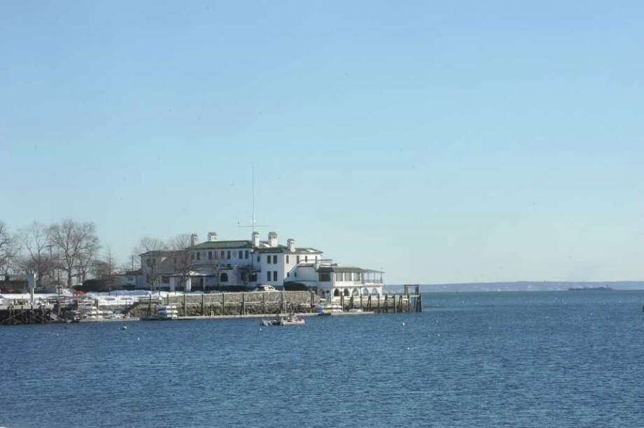 Indian Harbor Yacht Club and its mooring field on Thursday, Jan. 13, 2011. Photo: Helen Neafsey / Greenwich Time
