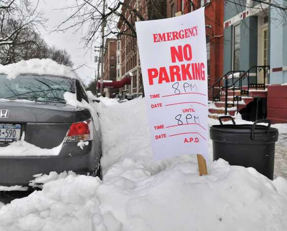 A car parked in violation of Albany's snow emergency along Willet Street Thursday afternoon.  (John Carl D'Annibale / Times Union) Photo: John Carl D'Annibale