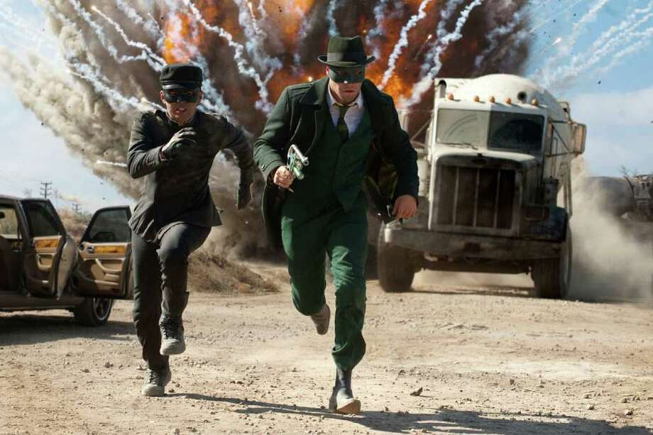 Jay Chou (left) and Seth Rogen star in Columbia Pictures? action film ?The Green Hornet.? (Jaimie Trueblood / Columbia Pictures) Photo: Jaimie Trueblood / ©2010 Columbia Pictures Industries, Inc.  All Rights Reserved. **ALL IMAGES ARE PROPERTY OF SONY PICTURES ENTERTAINMENT INC. FOR