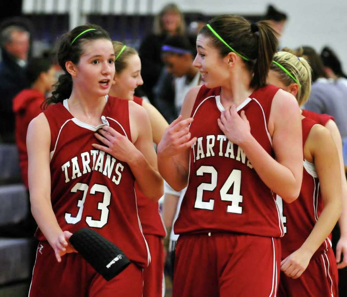 Scotia?s Sarah Janson, left, and Danielle Conley have improved their play this year and nicely complement last year?s league MVP, Cassie Broadhead. Conley is averaging 11.1 points per game, Janson 13.2. (John Carl D?Annibale/Times Union)