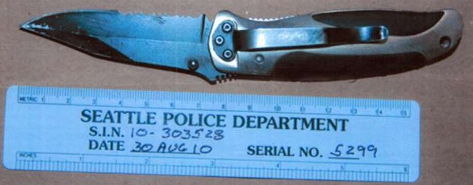 One of the knives recovered at the Seattle officer-involved shooting scene where John T. Williams was killed, Aug. 30, 2010. This is the knife that was found near Williams' body. The photograph was released Aug. 31 by Seattle police. (Seattle Police Department photo) Photo: /