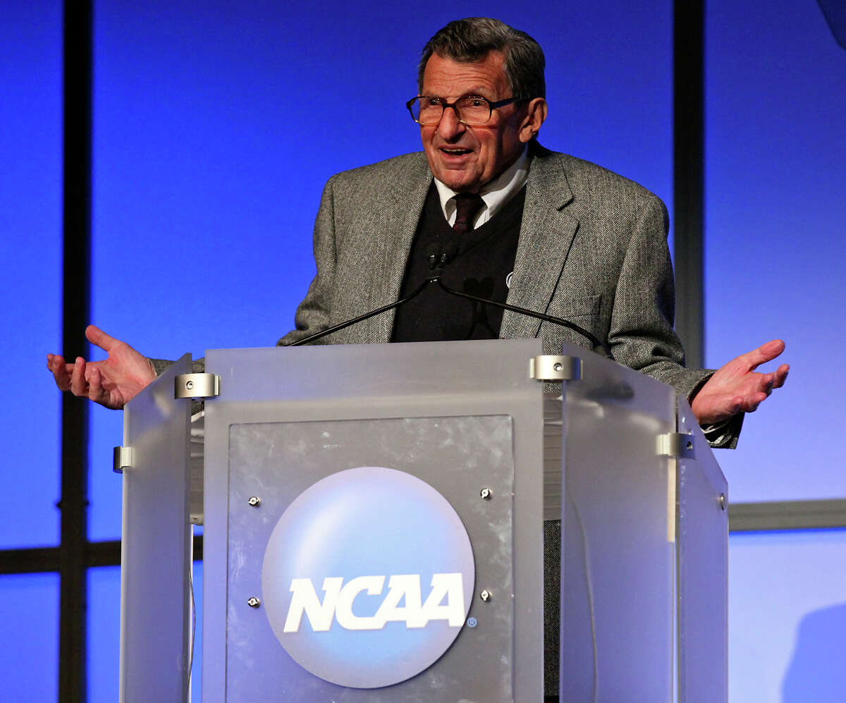 Penn State coach Joe Paterno talks Thursday at the NCAA convention after receiving the Gerald R. Ford Award.