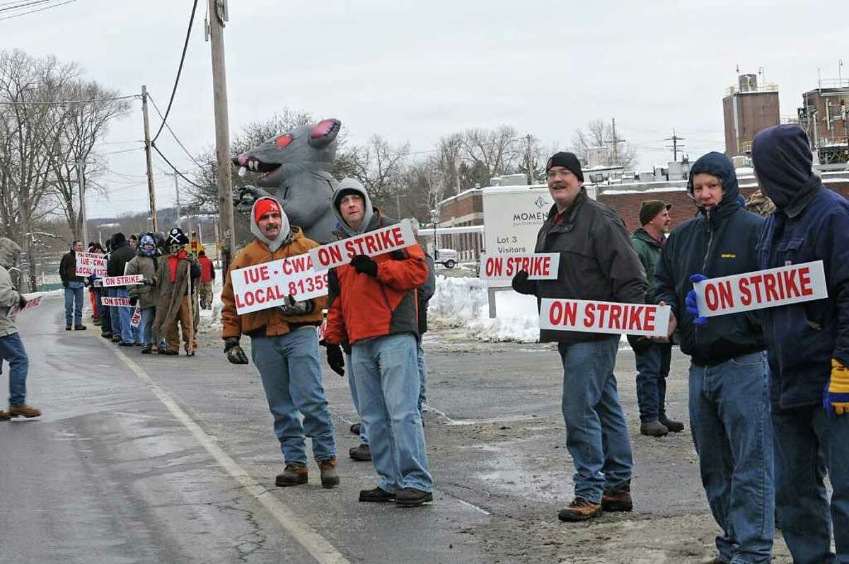 Workers at Momentive Performance Materials Inc. strike to protest the company?s punishment and discipline of employees in front of the Plant in Waterford, NY on January 13, 2011. (Lori Van Buren / Times Union)