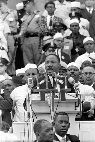 "Dr. Martin Luther King Jr., head of the Southern Christian Leadership Conference, addresses marchers during his ""I Have a Dream"" speech at the Lincoln Memorial in Washington D.C. Aug. 28, 1963. (AP Photo) Photo: AP / AP"