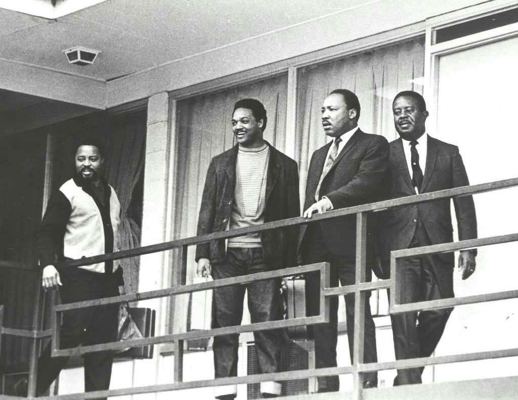 Martin Luther King Jr., second right, and SCLC aides Hosea Williams, Jesse