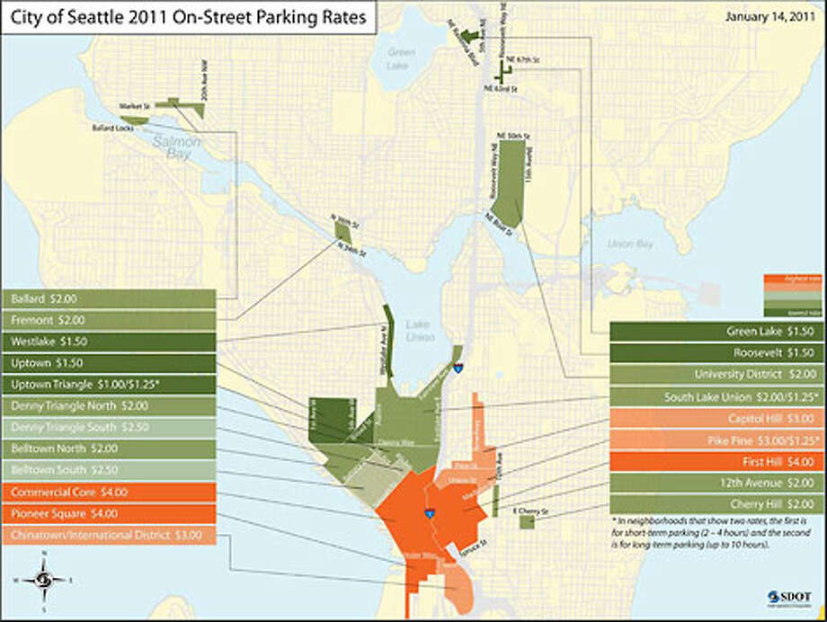 The city released this map showing new parking rates around Seattle. Download the full-resolution map (PDF). Photo: City Of Seattle