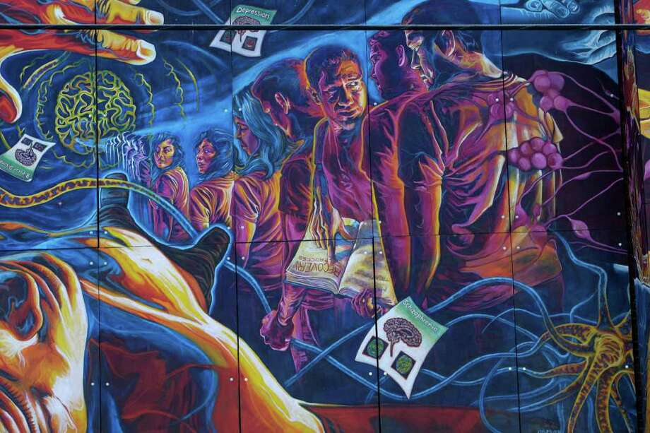 "Detail from ""Brighter Days,"" a mural by San Anto Cultural Arts and it is located at Zarzamora Mental Health Clinic on Tuesday, Jan. 6, 2009.  Photo: JERRY LARA, SAN ANTONIO EXPRESS-NEWS / glara@express-news.net"