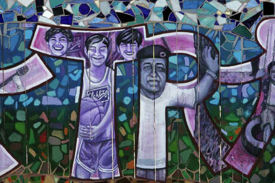 "A detail from San Anto Cultural Arts ""Trinity Street,"" mural located near the corner of Santiago and Trinity, Jan. 6, 2009. Photo: JERRY LARA, SAN ANTONIO EXPRESS-NEWS / glara@express-news.net"